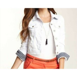 Tommy Girl Fitted Denim White Size Large Jacket